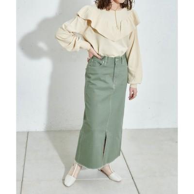 スカート 配色ステッチツイルナロースカート