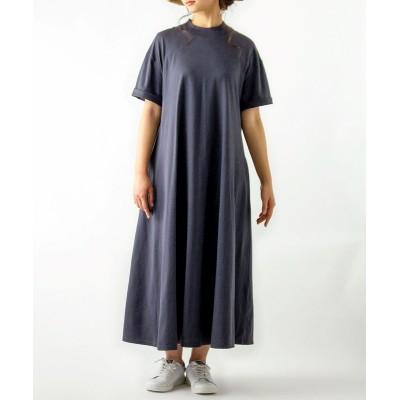 ハイネック5分袖 カットソーマキシワンピース (ワンピース)Dress