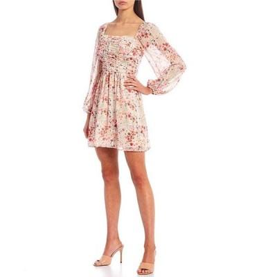 ミッドナイト ドール レディース ワンピース トップス Bubble Long-Sleeve Ruched Floral Print Chiffon Fit-and-Flare Dress
