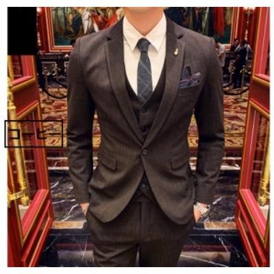メンズスーツ 大きいサイズ 上品 スタイリッシュ 3ピーススーツ タキシード ビジネス 1つボタンスーツ フォーマル 発表会 結婚式 司会 紳