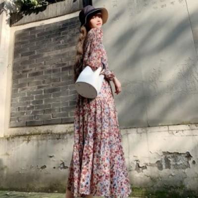 カシュクールワンピースロング 長袖 マキシワンピース 花柄のワンピース シフォン パフスリーブ ゆったり 大きいサイズ ティアード