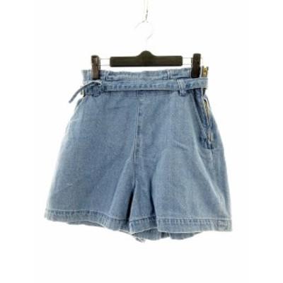【中古】エージー AG パンツ ショート ショーパン 無地 青 ブルー /M2 レディース