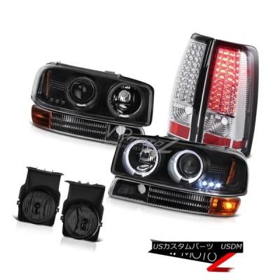 ヘッドライト DRL LEDエンジェルアイヘッドライトブラックバンパークロームテールランプスモークフォグ03 Sierra WT DRL LED An