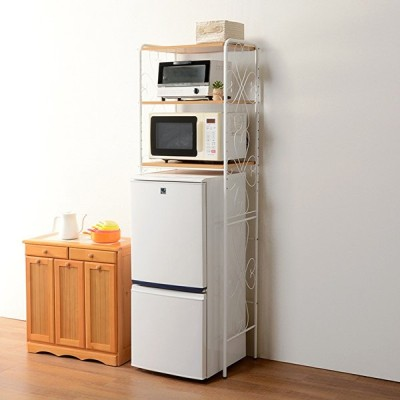 冷蔵庫ラック ホワイト 58cm スリム 可動棚 高さ調節 エレガント おしゃれ