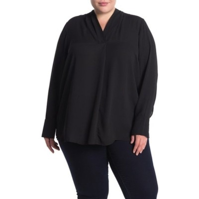 プレイオネ レディース シャツ トップス Pleated V-Neck Woven Blouse (Plus Size) BLACK