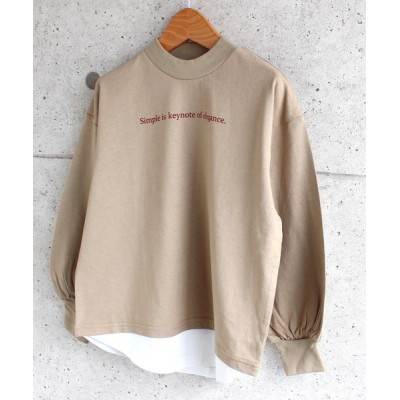tシャツ Tシャツ フェイクレイヤード ボリューム袖 モックネック BIG ロンT キッズ