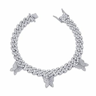 TOPGRILLZ 10mm 6 Times Plated Iced Out Small Charm Butterfly Diamond Cuban Link Bracelet for Women Novelty Jewelry Gifts (7, 10m