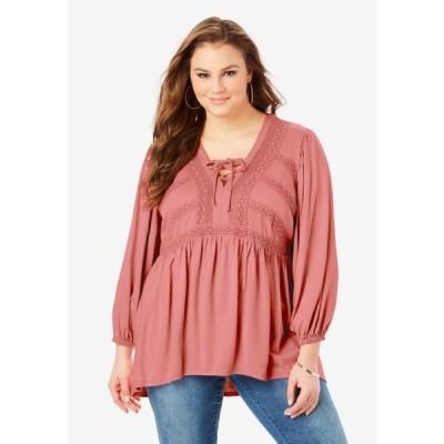 レディース 衣類 トップス Roaman's Women's Plus Size Lace Peasant Top ブラウス&シャツ