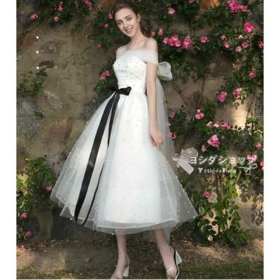 ウエディングドレス 二次会 花嫁 Aライン ホワイト ロングドレス 結婚式 パーティードレス ウエディングドレス 演奏会 フォーマルドレス サッシュリボン
