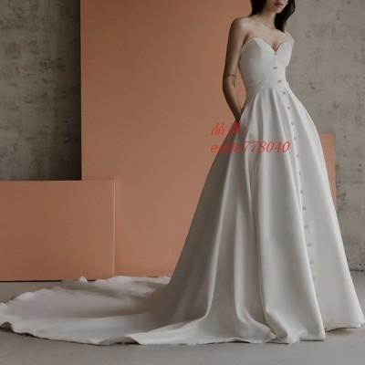 2020新入荷 ウェディングドレス セクシービスチェタイプ 簡約 花嫁ロングドレス 結婚式 二次会 お呼ばれ エレ トレーンライン 挙式 姫系