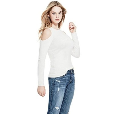 ゲス レディース セーター(プルオーバー型) Guess Women's Long Sleeve Holly Pearl Logo Sweater