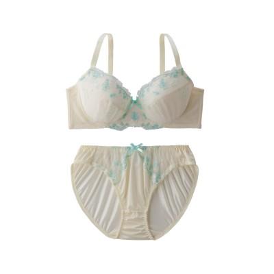 シャーベットカラーリボン柄レースブラ。ショーツセット(ラージサイズ)(D95/4L) (ブラジャー&ショーツセット)Bras & Panties