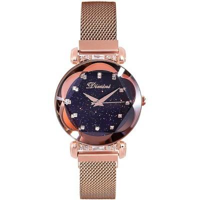 RORIOS かわいい 腕時計 レディース 人気 女性用 時計 アナログ時計 磁気メッシュバンド キラキラ クリスタル 星空 ファッション クォーツ