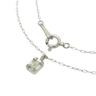 スクエア ダイヤモンド 計0.10ct ネックレス Pt900プラチナ/Pt850プラチナ 0.9g 40cm レディース