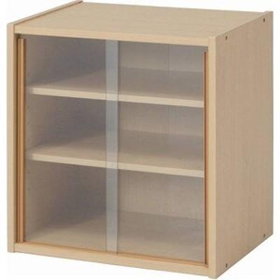 北欧風 ミニ食器棚 キッチン収納 幅43cm メープル ガラス製引き戸付き