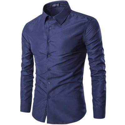 メンズシャツ長袖メンズカジュアルシャツワイシャツ無地トラッドフォーマル大きいサイズトップスシャツ開襟シャツ