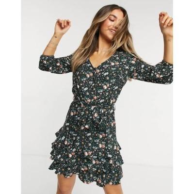 オアシス レディース ワンピース トップス Oasis printed dress in floral print Multi black