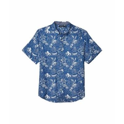 ナウティカ シャツ トップス メンズ Short Sleeve Linen Print Blue