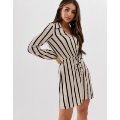 エイソス レディース ワンピース トップス ASOS DESIGN mini textured shirt dress in stripe Stripe