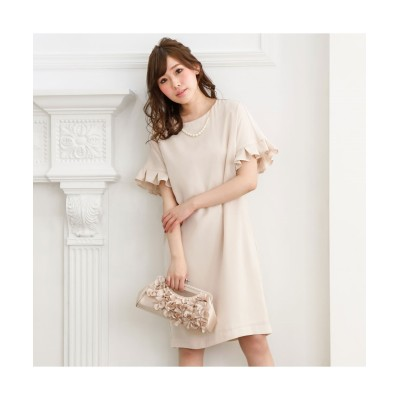 袖フリルサックワンピース(コットンパールアクセサリー付) 【謝恩会・パーティドレス】Dress