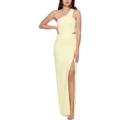 エックススケープ XSCAPE レディース パーティードレス ワンショルダー ワンピース・ドレス One-Shoulder Scuba Crepe Gown Lemon Yellow