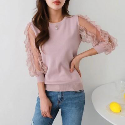 レディース シフォンフリル袖 トップスシャツ ブラウス 韓国 30代 40代 50代     オープン記念 2019年 春夏
