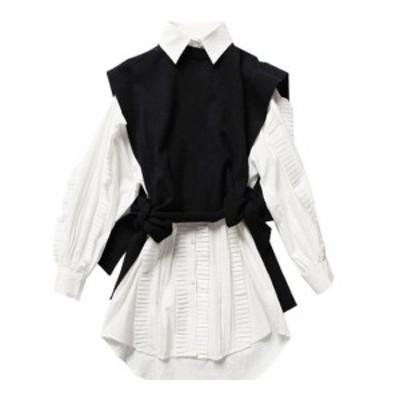 たっぷりプリーツ ゴシック調 マニッシュシャツと ニットベストの セットアップ☆白シャツ 黒ベスト OL 通勤 オフィスカジュアル