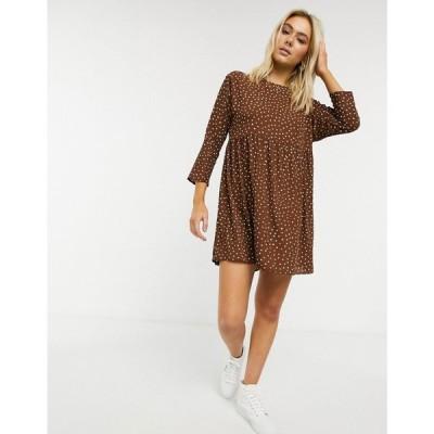 エイソス ASOS DESIGN レディース ワンピース ミニ丈 ワンピース・ドレス long sleeve smock mini dress in polka dot