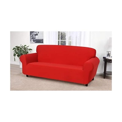 Madison Jersey Stretch Solid Furniture Sofa Slipcover, Red, 74x96