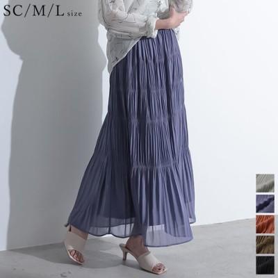 Re:EDIT 贅沢な大人のティアードで華やかな夏に [お家で洗える][低身長向けSサイズ対応]ギャザーティアードマキシスカート スカート/スカート ブラウン L レディース