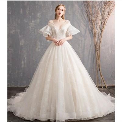 ウェディグドレス カラードレス 結婚式 花嫁 二次会 プリンセスラインドレス ドレス パーティードレス ロングドレス 海外挙式 大きいサイズ 前撮り トレーン