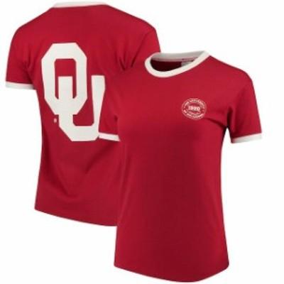 chicka-d チッカ スポーツ用品  chicka-d Oklahoma Sooners Womens Crimson Ringer T-Shirt