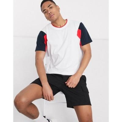 ジャック アンド ジョーンズ メンズ シャツ トップス Jack & Jones Core contrast sleeve t-shirt in white