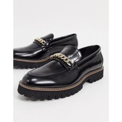 エイソス ASOS DESIGN メンズ ローファー シューズ・靴 loafers in black faux leather with chunky sole and chain detail ブラック