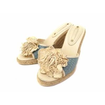【中古】セリーヌ CELINE サンダル 36 ライト ベージュ ブルー 花 装飾 ウェッジソール