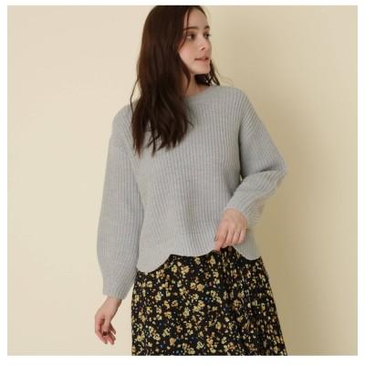 【クチュール ブローチ/Couture brooch】 【WEB限定サイズ(LL)あり/手洗い可】ボリュームスリーブスカラッププルオーバー