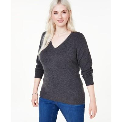チャータークラブ Charter Club レディース ニット・セーター 大きいサイズ Vネック トップス Plus Size V-Neck Cashmere Sweater Heather Cinder