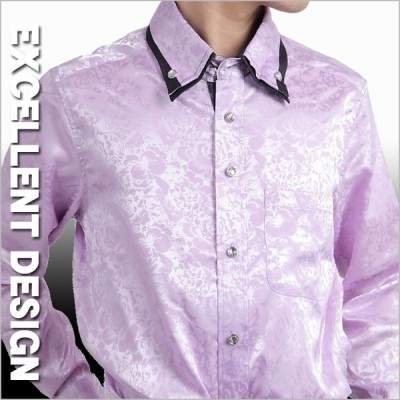 花柄シャツ メンズ バラ薔薇柄モデル 紫パープル 二重衿ドレスシャツ クリスタル調ボタンダウンシャツ ブランド おしゃれ