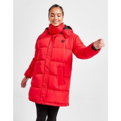 シックシルク SikSilk レディース ダウン・中綿ジャケット ロング アウター longline padded jacket red