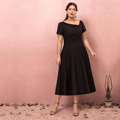 大きいサイズカラードレス/ミモレ丈/ウェディングドレス/ブライズメイドドレス/袖あり/ファスナー/ブラック/2XL~7XL/fhd14