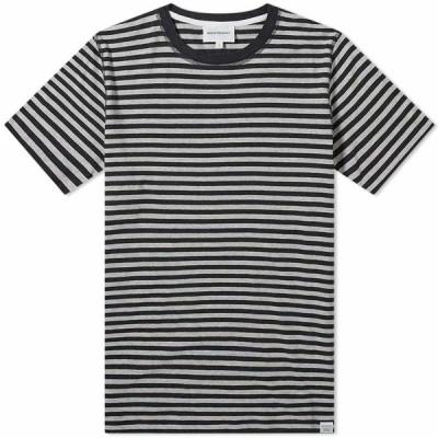 ノースプロジェクト Norse Projects メンズ Tシャツ トップス Niels Classic Stripe Tee Light Grey Melange/Charcoal