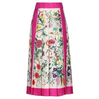 グッチ GUCCI 7分丈スカート アイボリー 40 シルク 100% 7分丈スカート