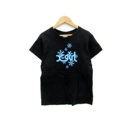 【中古】エックスガール x-girl Tシャツ カットソー 半袖 ラウンドネック ロゴプリント 薄手 1 ブラック 黒 /MS7 レディース 【ベクトル 古着】
