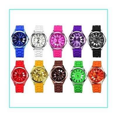 【新品】CdyBox Men Women Kids Silicone Band Assorted Jelly Color Watches (10 Packs)(並行輸入品)