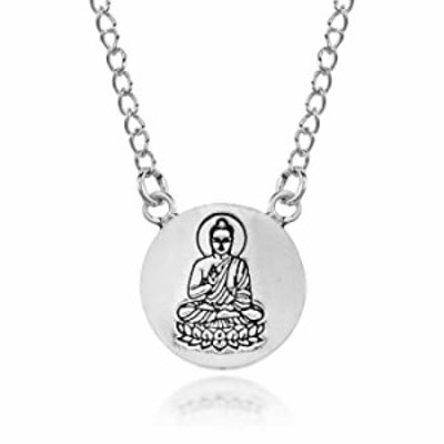 Serene Meditation Sitting Buddha Medallion .925 Sterling Silver Pendant Necklace