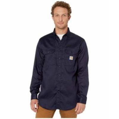 カーハート メンズ シャツ トップス Flame-Resistant (FR) LW Twill Shirt Dark Navy 2