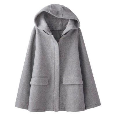 ステンカラーコート 起毛素材フードデザインコート
