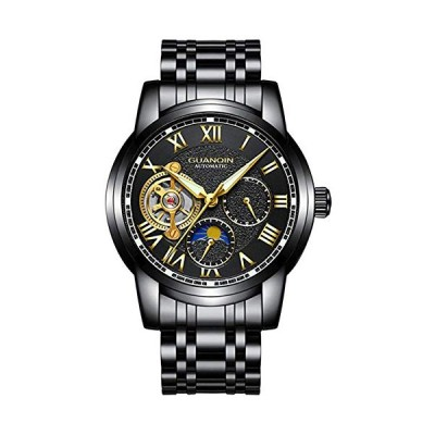 Top Brand Automatic Mechanical Men Watch Stainless Steel Double Calendar Wristwatch with Leather Strap (Steel 6) 並行輸入品