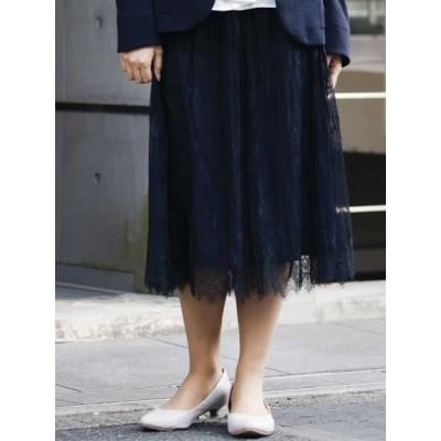【大きいサイズ】【大きいサイズ】レースプリーツスカート 大きいサイズ スカート レディース