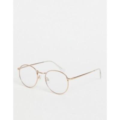 エイソス レディース サングラス・アイウェア アクセサリー ASOS DESIGN metal round clear lens glasses in rose gold Rose gold